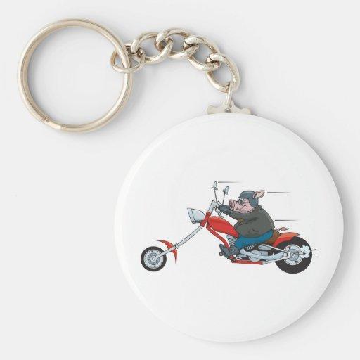 Motorista del cerdo llavero redondo tipo pin