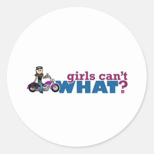 Motorista del chica pegatina redonda