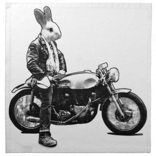 Motorista del conejito servilleta imprimida