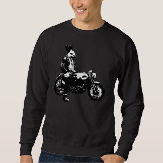 Motorista del conejito sudadera con capucha