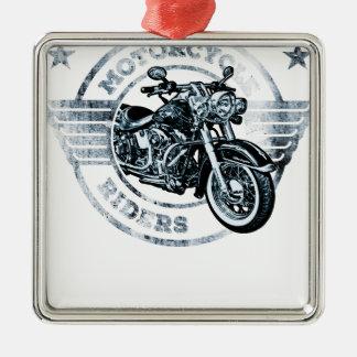 Motorista del jinete de la moto adorno navideño cuadrado de metal