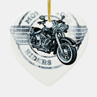 Motorista del jinete de la moto adorno navideño de cerámica en forma de corazón