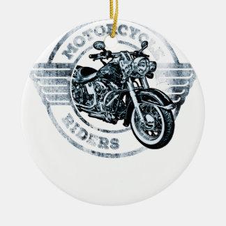 Motorista del jinete de la moto adorno navideño redondo de cerámica
