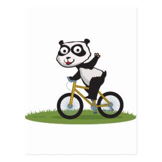 Motorista del oso de panda postal