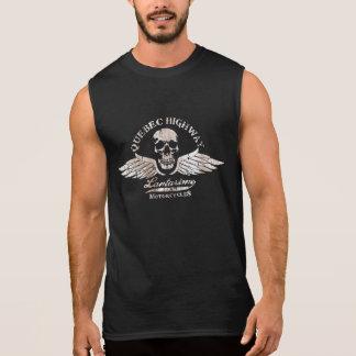 Motorista del vintage que hace muecas el cráneo y camiseta sin mangas