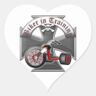 Motorista en el entrenamiento pegatinas de corazon personalizadas