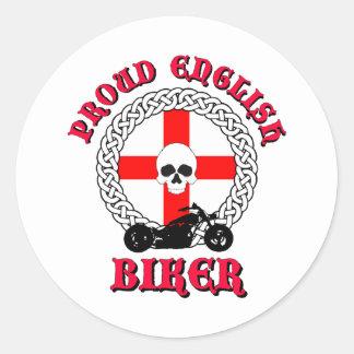 Motorista inglés orgulloso etiqueta redonda