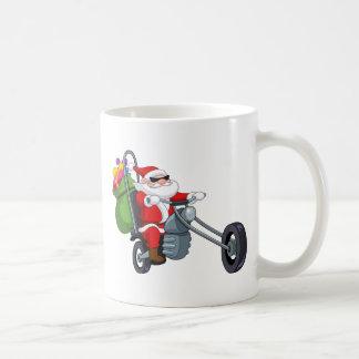 motorista Papá Noel de la motocicleta Taza Clásica