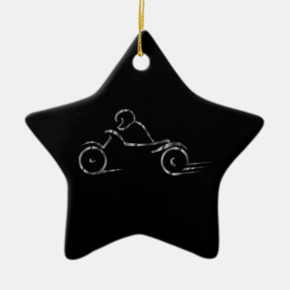 Motorista que muestra seguridad en carretera adorno navideño de cerámica en forma de estrella