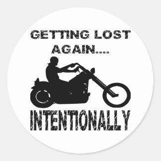 Motorista que se pierde otra vez intencionalmente pegatina redonda