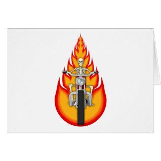 Motorista y llamas esqueléticos felicitación