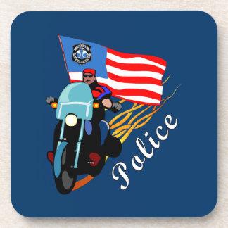 Motoristas de la policía posavasos de bebida
