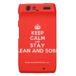 [Crown] keep calm and stay clean and sober  Motorola Droid RAZR Cases