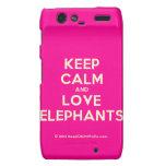 keep calm and love elephants  Motorola Droid RAZR Cases
