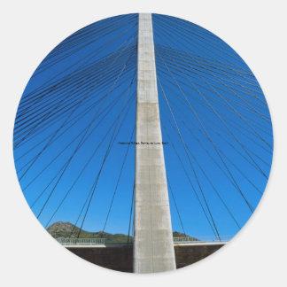 Motorway Bridge, Barrios de Luna, Spain Classic Round Sticker