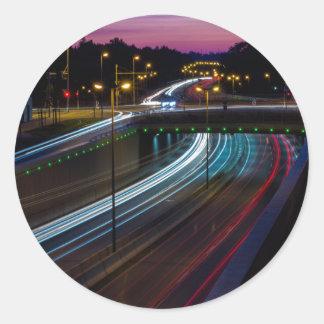 Motorway lights classic round sticker