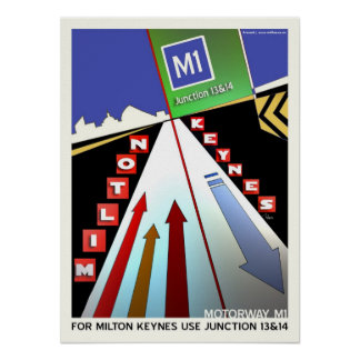 Motorway M1 Milton Keynes poster art/print