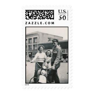 motorycle guy 2 girls postage stamp