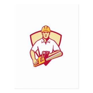 motosierra del jardinero del arborista del tarjeta postal