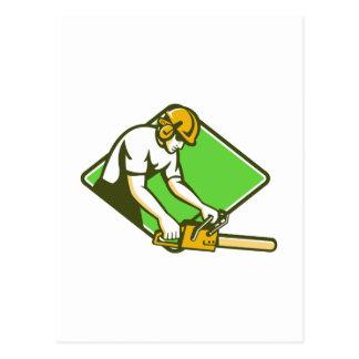 motosierra del leñador del arborista del cirujano tarjetas postales