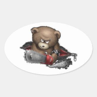 Motosierra enojada del oso pegatina ovalada