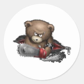 Motosierra enojada del oso pegatina redonda