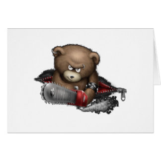 Motosierra enojada del oso tarjeta de felicitación