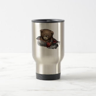 Motosierra enojada del oso taza de viaje de acero inoxidable
