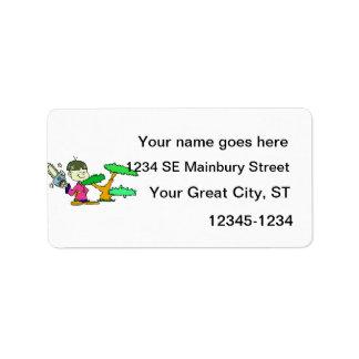 Motosierra que detiene al niño con imagen del gráf etiqueta de dirección