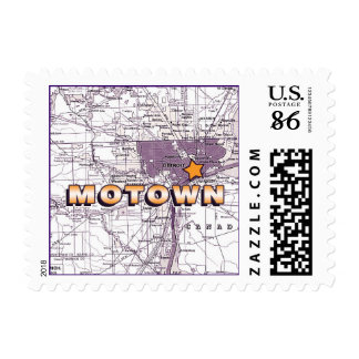 Motown Map - gold and eggplant Postage Stamp