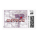 Motown Map - red and eggplant Postage Stamps