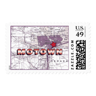 Motown Map - red and eggplant Stamp