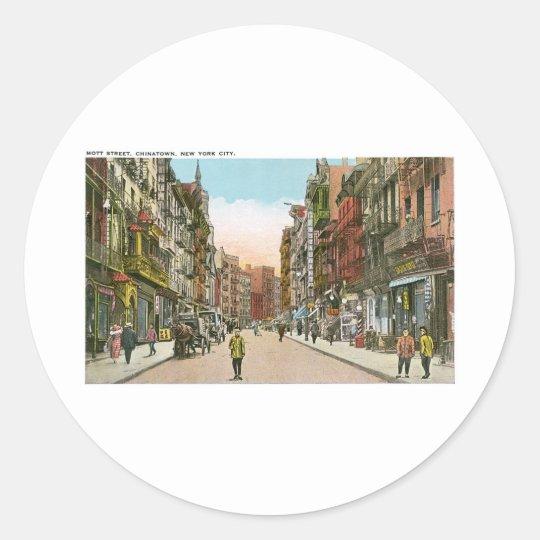 Mott Street, CHINATOWN, New York City (Vintage) Classic Round Sticker