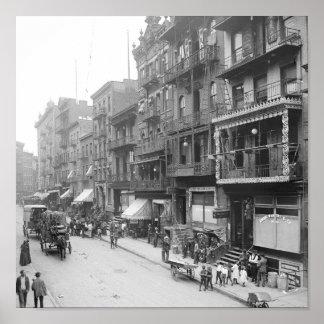 Mott Street, Nueva York, 1900 Poster