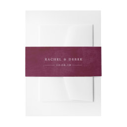 Mottled Cabernet Personalized Wedding Invitation Belly Band
