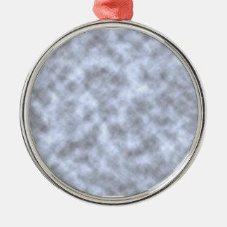 Mottled light blue black pattern background round metal christmas ornament