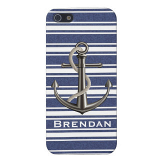 Mottled Navy Blue Striped Anchor Cover For iPhone SE/5/5s