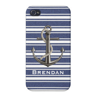 Mottled Navy Blue Striped Anchor iPhone 4 Cover