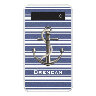 Mottled Navy Blue Striped Anchor Power Bank