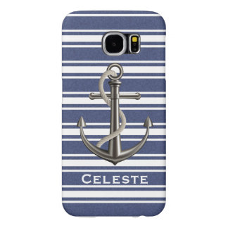 Mottled Navy Blue Striped Anchor Samsung Galaxy S6 Case