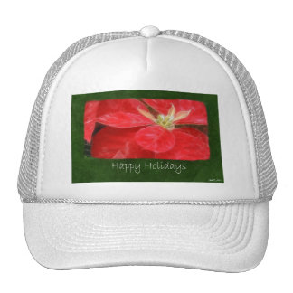 Mottled Red Poinsettias 1 - Happy Holidays Hat