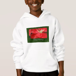Mottled Red Poinsettias 1 - Happy Holidays Hoodie