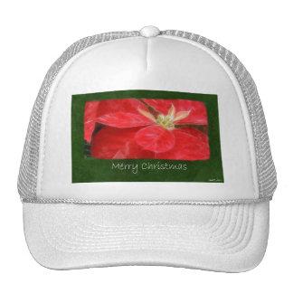 Mottled Red Poinsettias 1 - Merry Christmas Hat