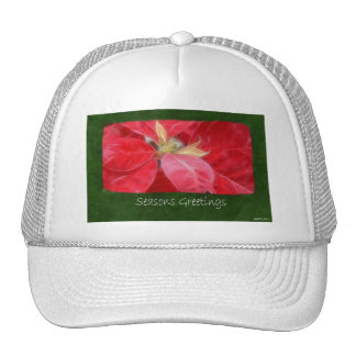Mottled Red Poinsettias 2 - Seasons Greetings Mesh Hat