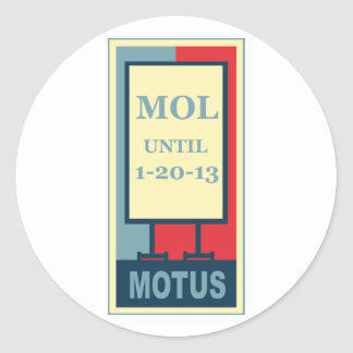 MOTUS ICON: MOL UNTIL 1-20-13 CLASSIC ROUND STICKER