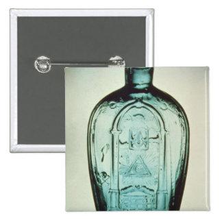 Mould-blown masonic flask pinback button