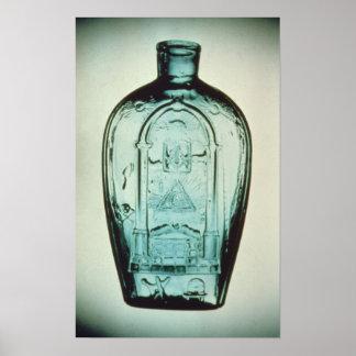 Mould-blown masonic flask poster