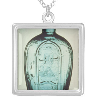 Mould-blown masonic flask silver plated necklace