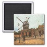 Moulin de la Galette by van Gogh, Vintage Windmill 2 Inch Square Magnet
