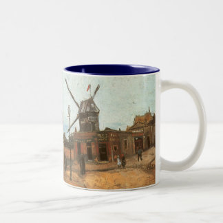 Moulin de la Galette by Vincent van Gogh, Windmill Two-Tone Coffee Mug